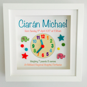 a beautiful personalised framed gift for all occasions Baby clock frame as cute as a button