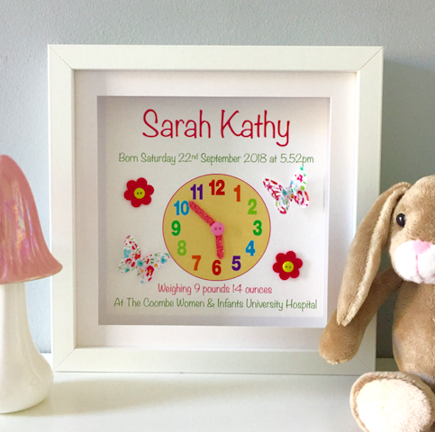 Baby Clock Print for Girl