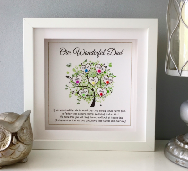 Dad Frame tree as cute as a button personalised