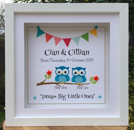 Twins personalised unique As Cute as a Button personalised frames Prints. Unique